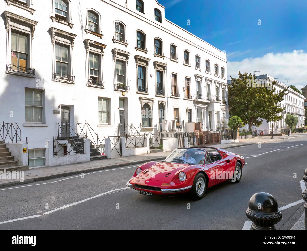 Dino Ferrari 246 1973 in Kings Rd Chelsea London UK - Stock Image