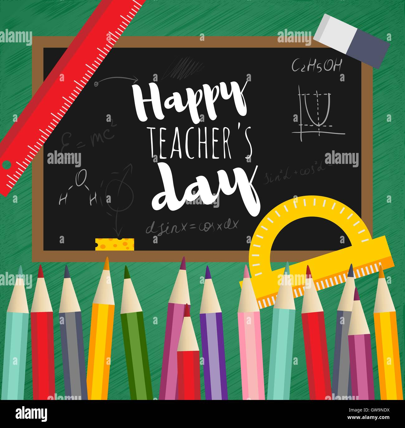 Greeting card happy teachers day back to school school board pan greeting card happy teachers day back to school school board pan and pencil m4hsunfo