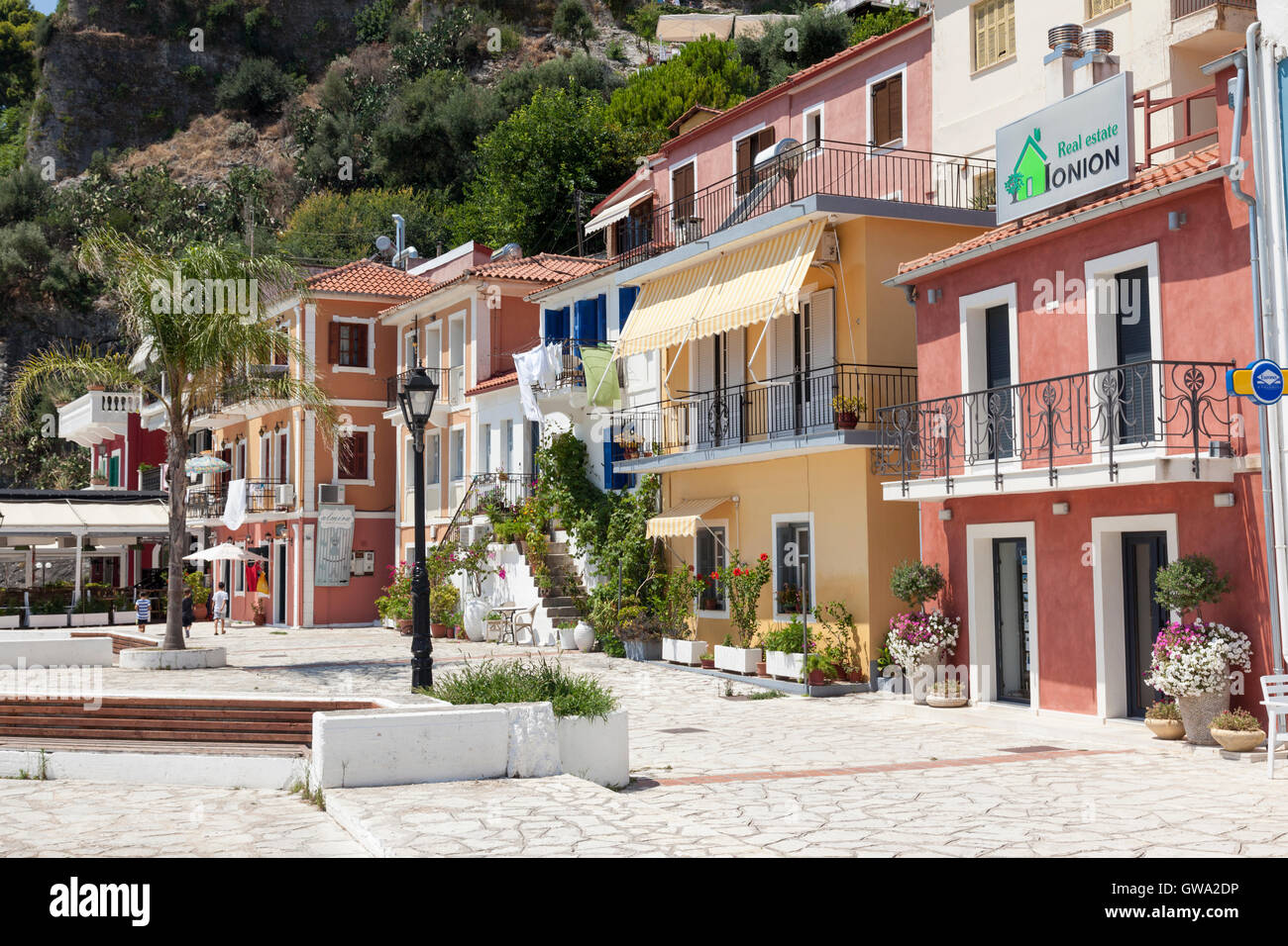 Close up of tradional picturesque colourful houses in Parga, Greece - Stock Image