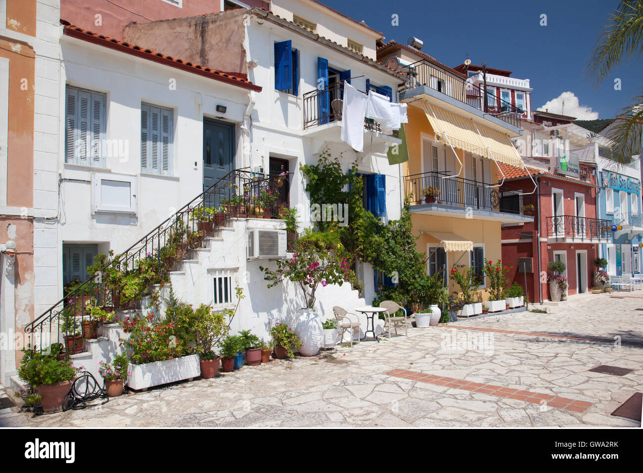 The colourful houses of Parga, Mainland Greece - Stock Image