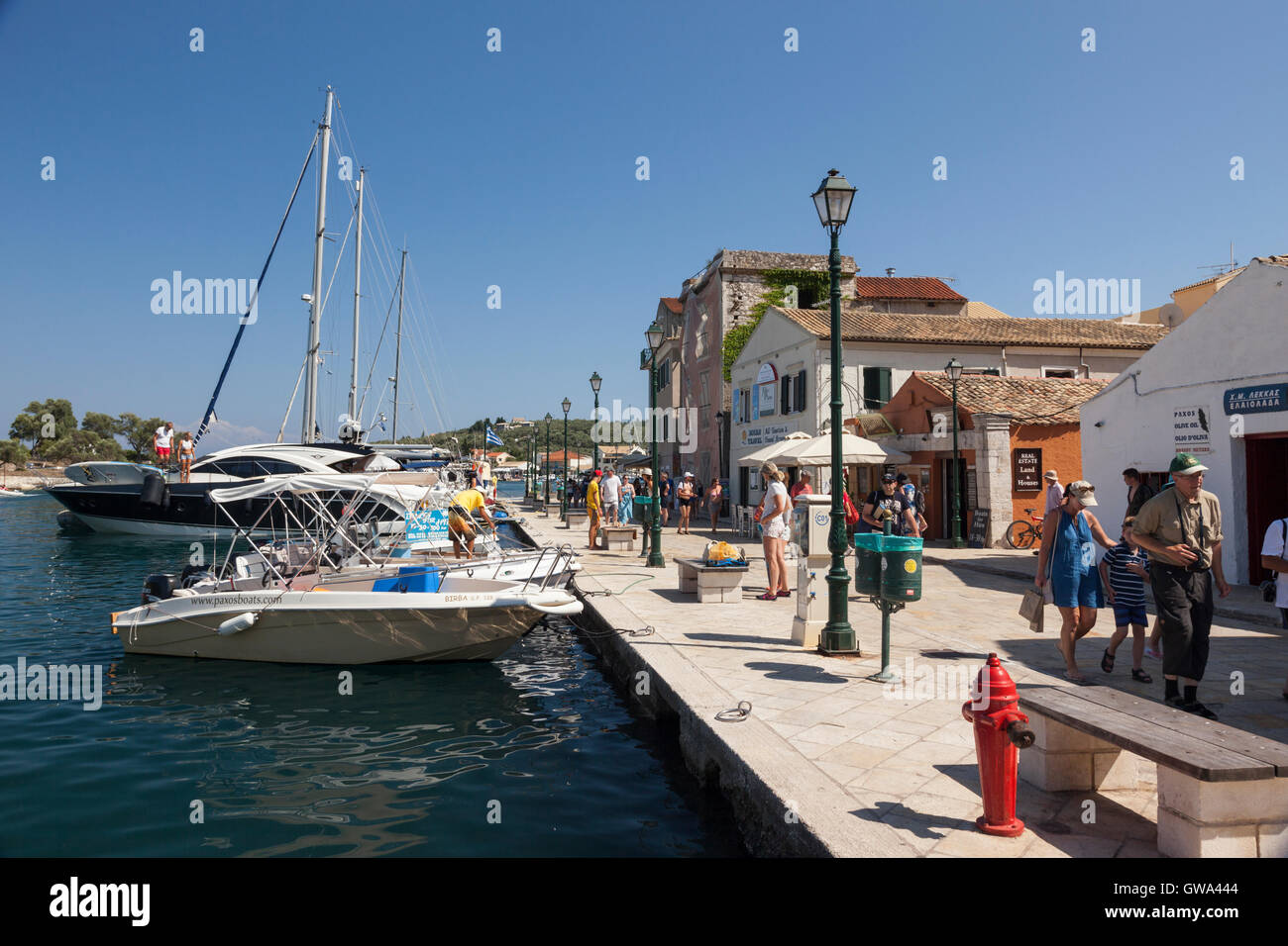 Gaios the largest town on Paxos, the smallest of the inhabited Ionian islands, Greece - Stock Image