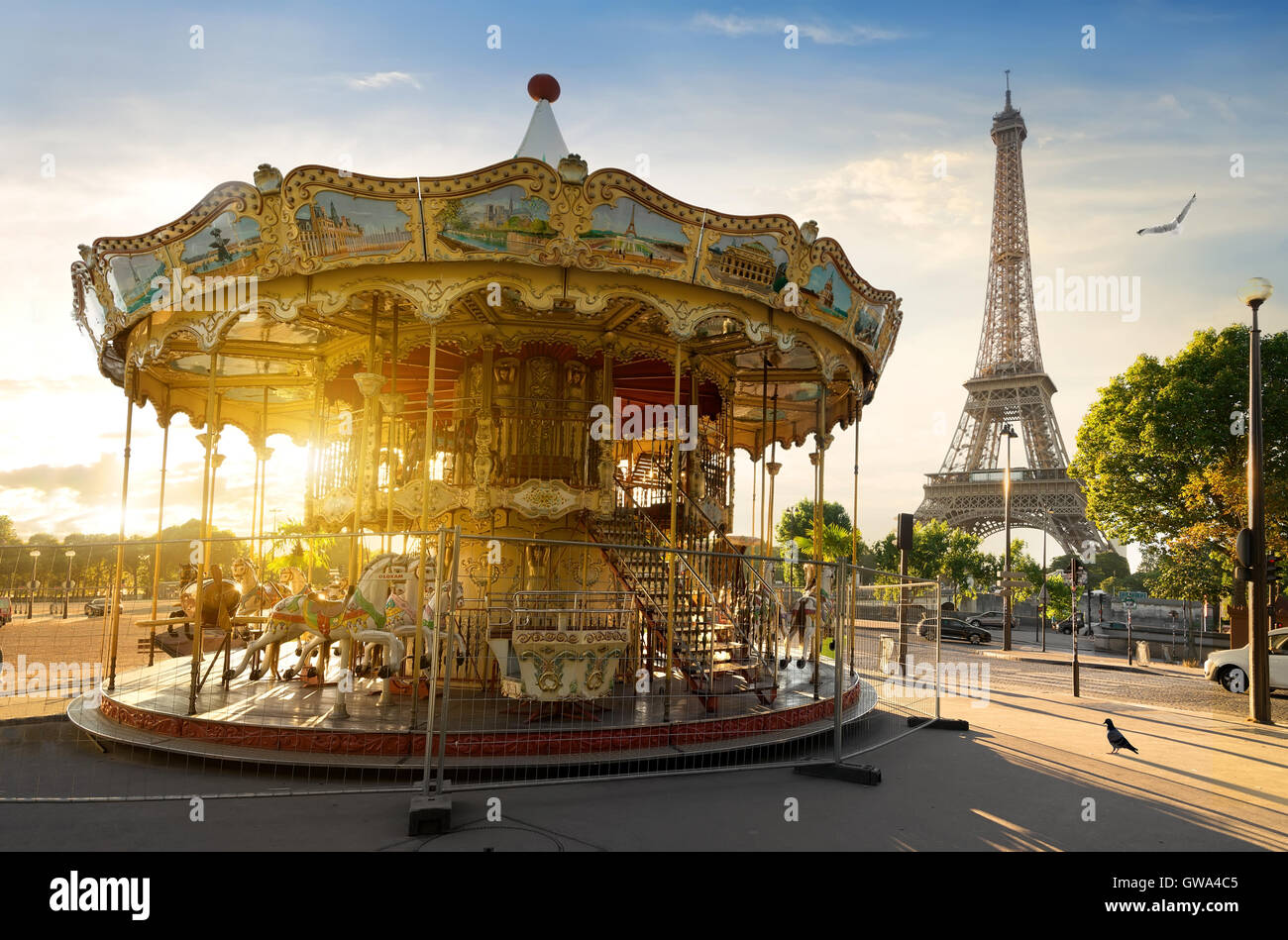 Carousel in park near the Eiffel tower in Paris - Stock Image