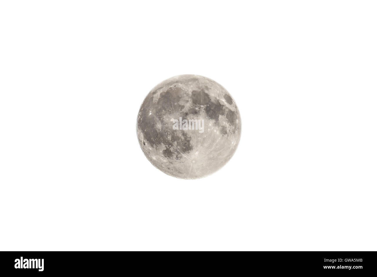 The Moon Isolated On White Background - Stock Image