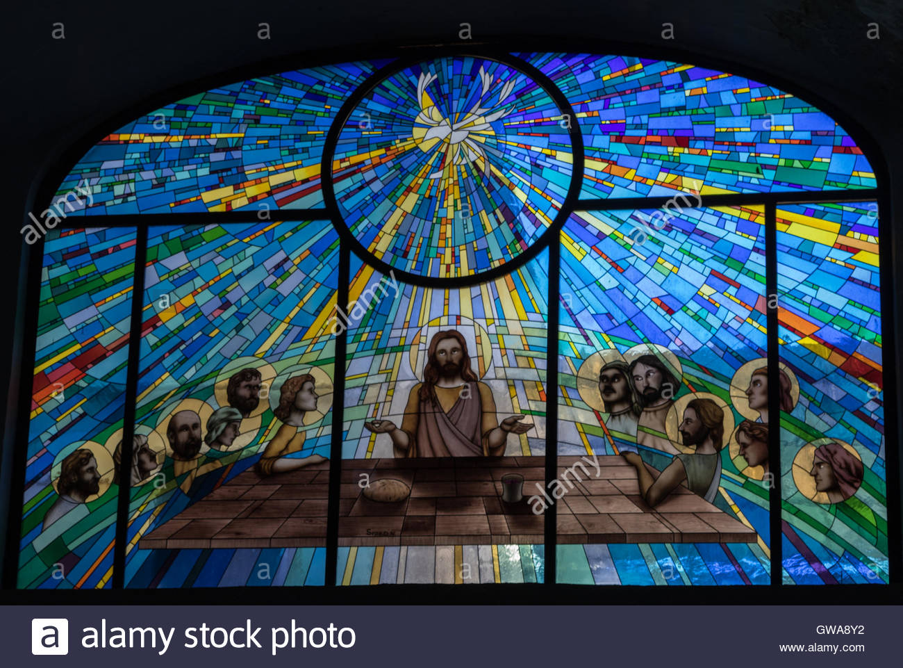 Modern Stained Glass Window Depicting The Last Supper In
