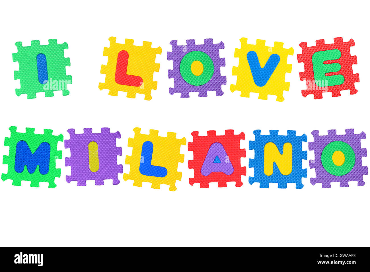 Message I Love Milano, from letters puzzle, isolated on white background. - Stock Image