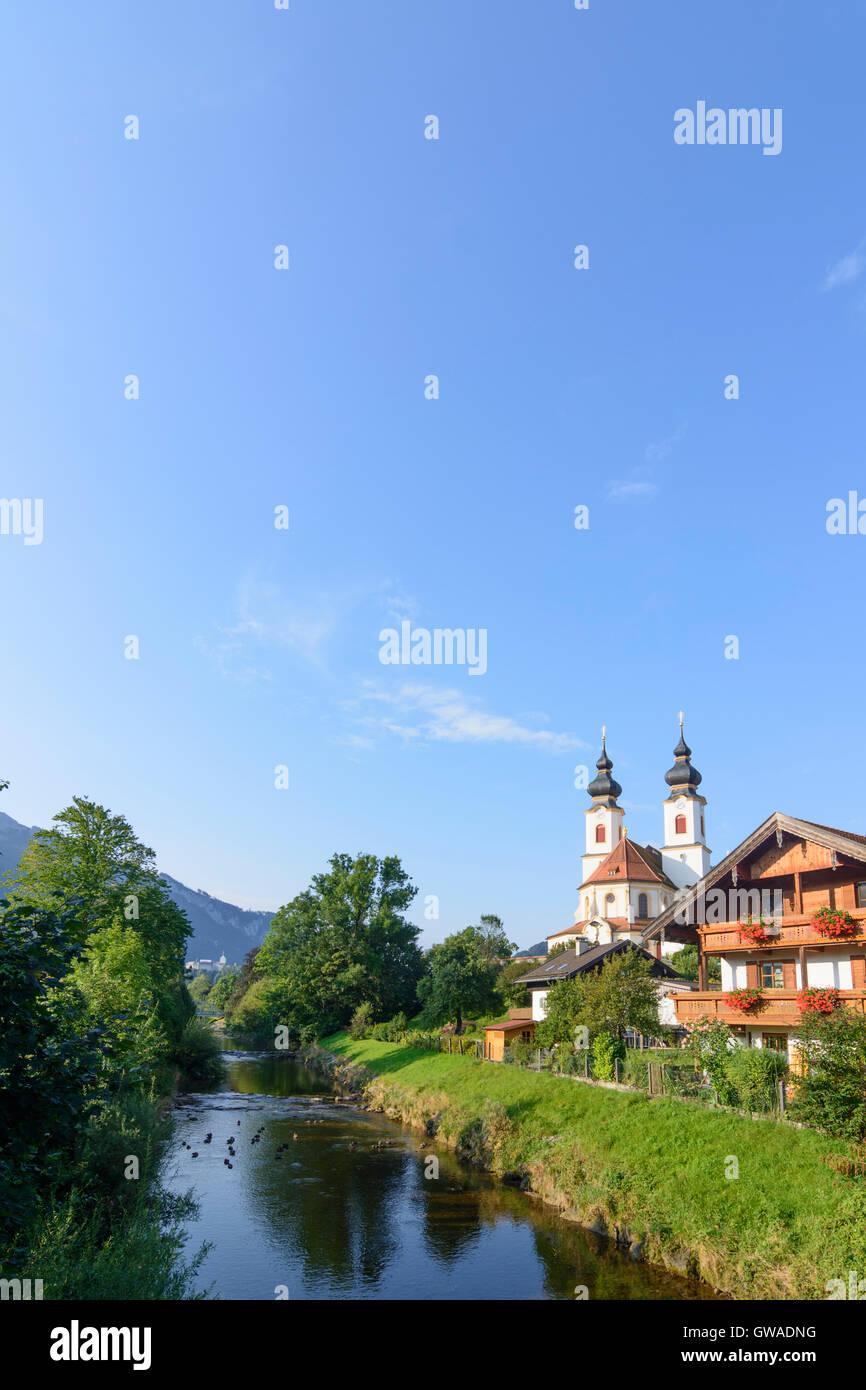 Aschau im Chiemgau: church, river Prien, Germany, Bayern, Bavaria, Oberbayern, Chiemgau, Upper Bavaria Stock Photo