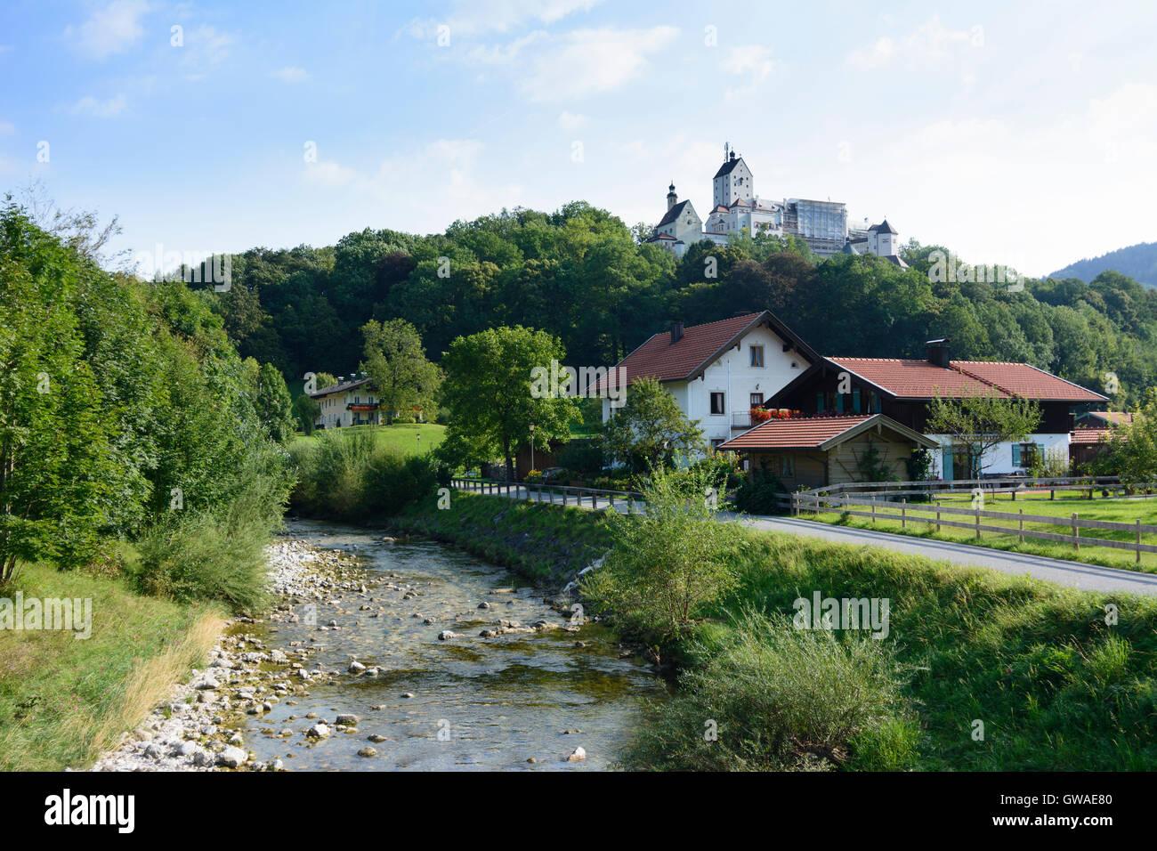 Aschau im Chiemgau: Hohenaschau Castle, river Prien, Germany, Bayern, Bavaria, Oberbayern, Chiemgau, Upper Bavaria Stock Photo