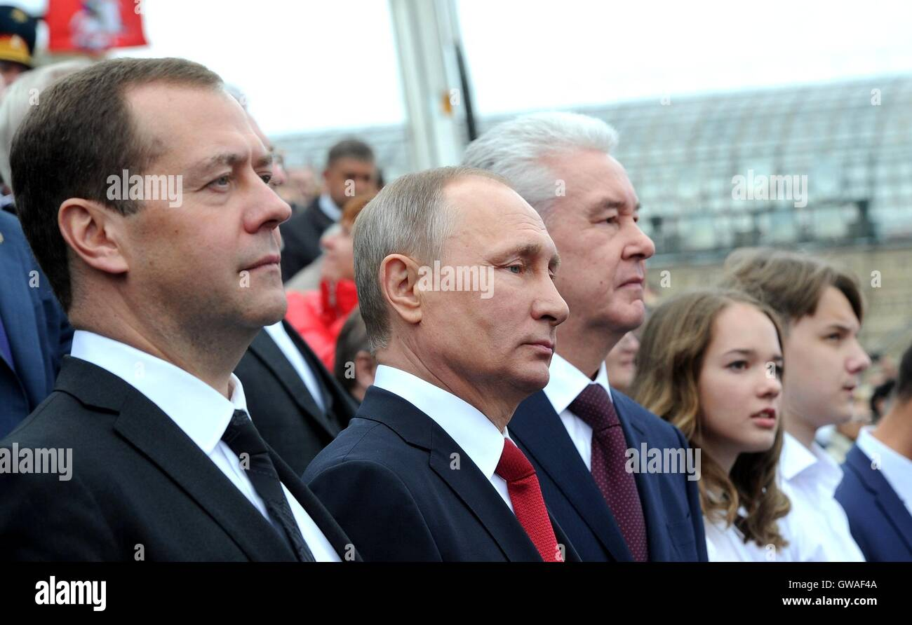 Russian President Vladimir Putin, Prime Minister Dmitry Medvedev and Mayor Sergei Sobyanin, right, during the MoscowStock Photo