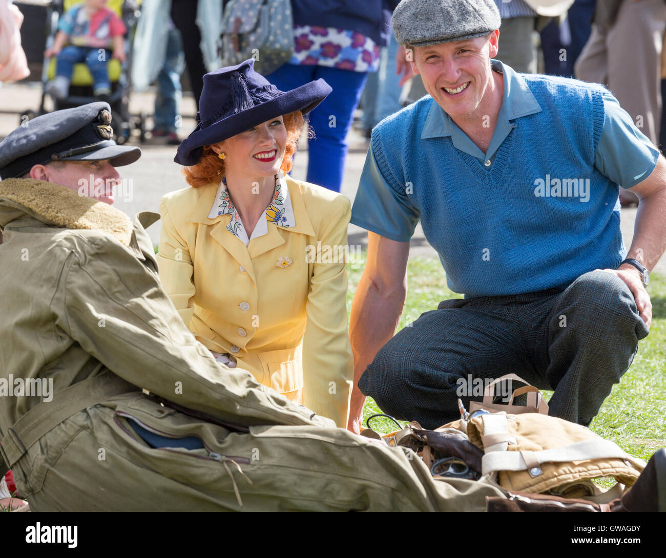 Village at War Weekend at Stoke Bruerne Canal Museum, Northamptonshire, England, UK - Stock Image
