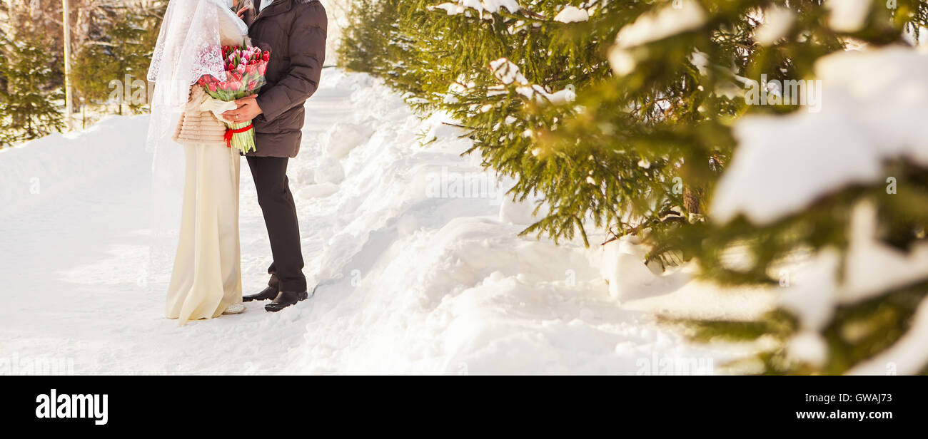 Just married muslim couple in winter nature - Stock Image
