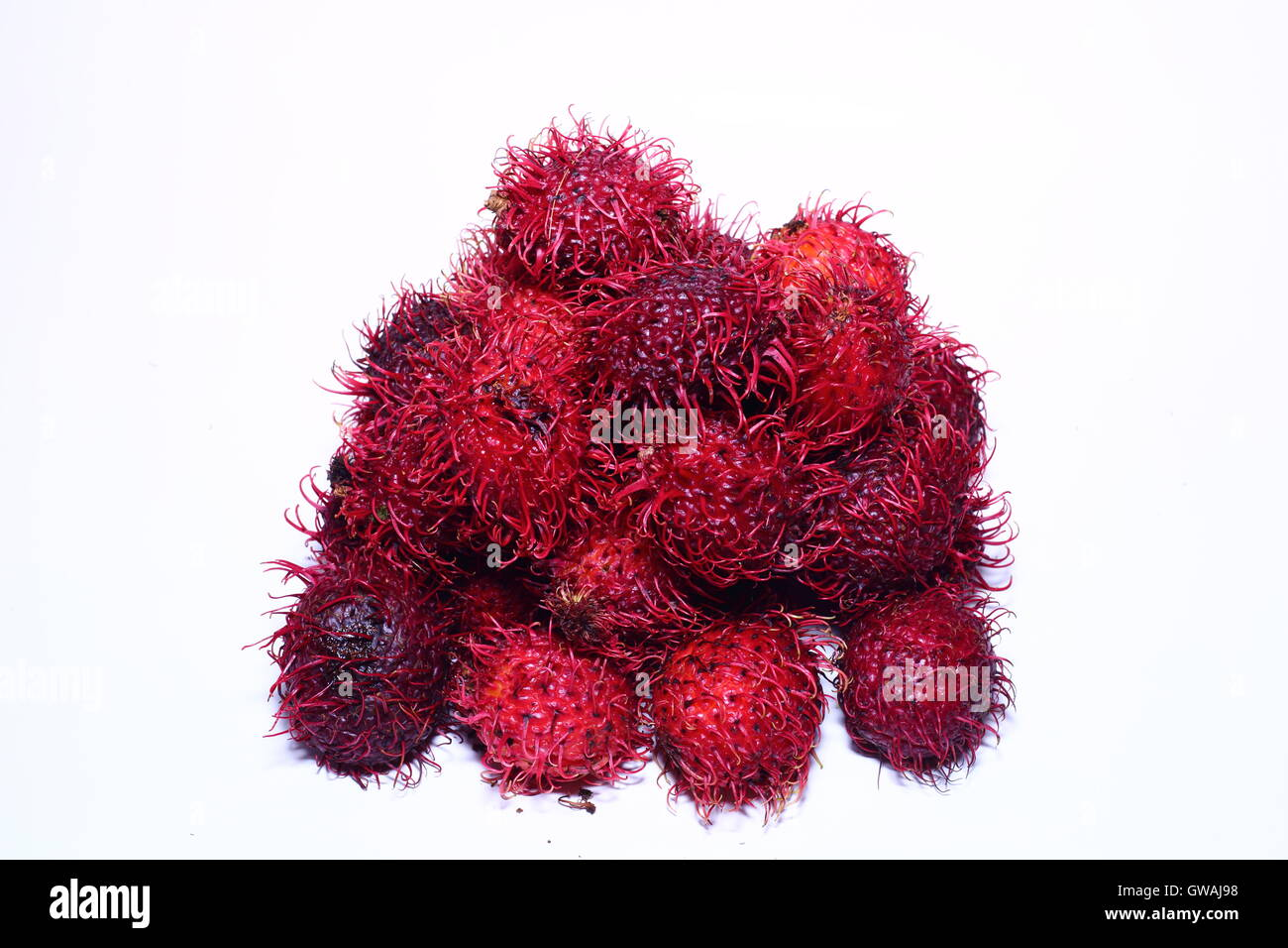 Pile of rambutan against a white background - Stock Image