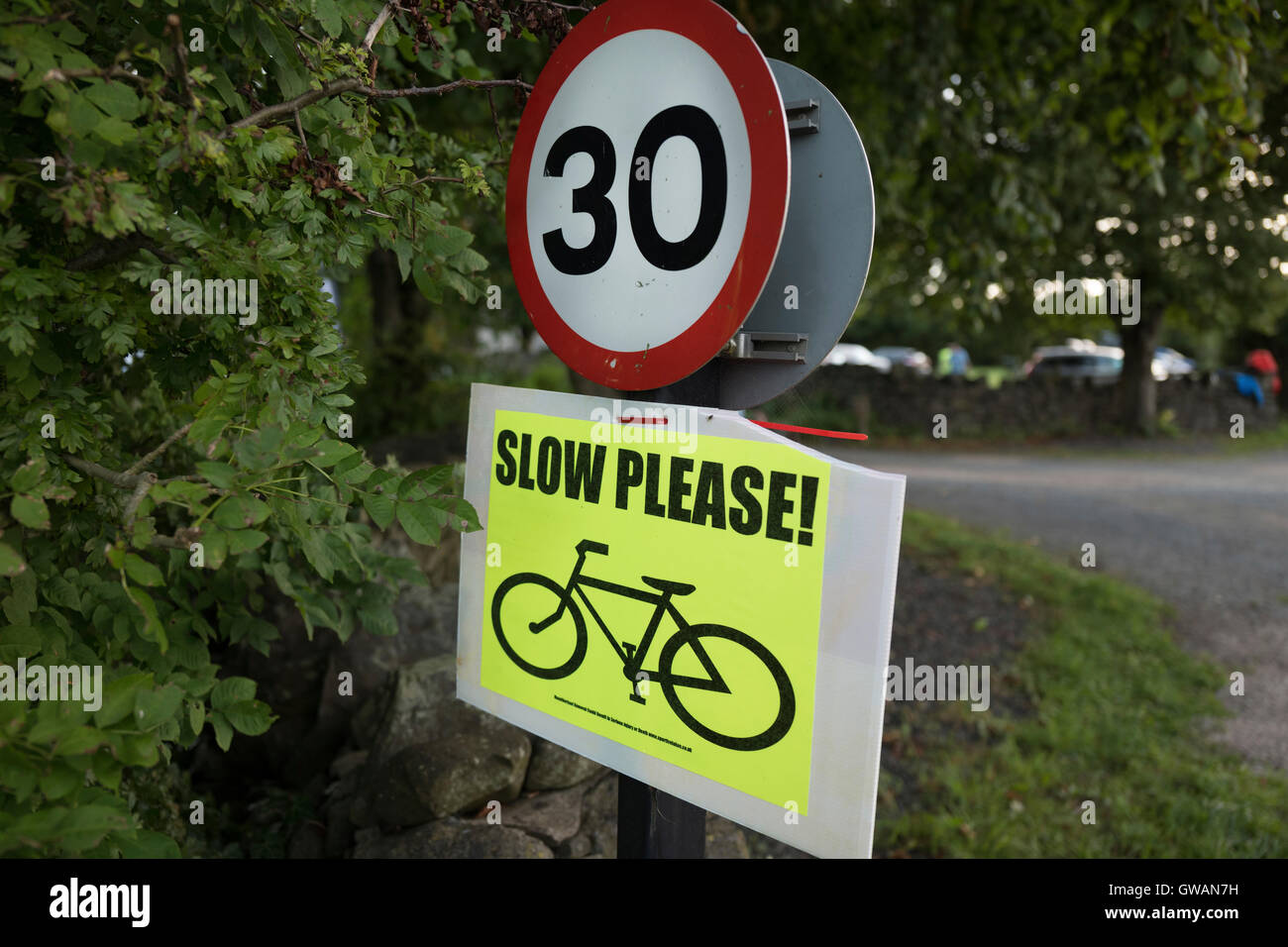 Speed limit sign with cycle event advisory. - Stock Image