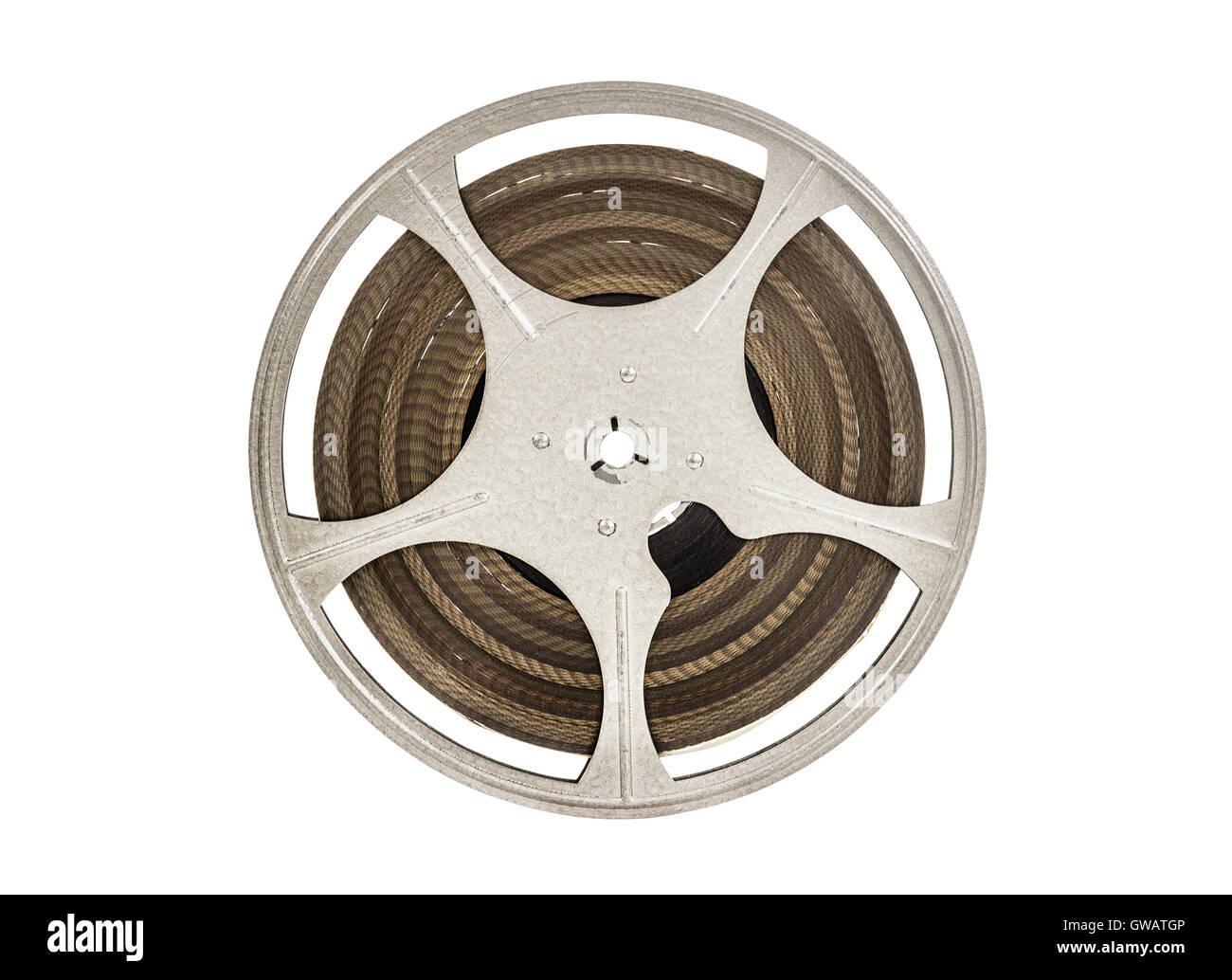 Vintage 8 mm movie film reel isolated on white. - Stock Image
