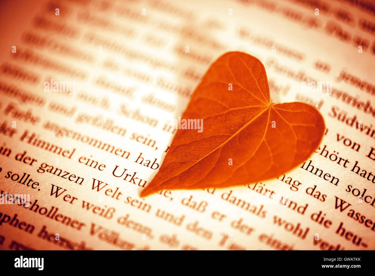 Heart-shaped sheet on a book page, Herzfoermiges Blatt auf einer Buchseite - Stock Image