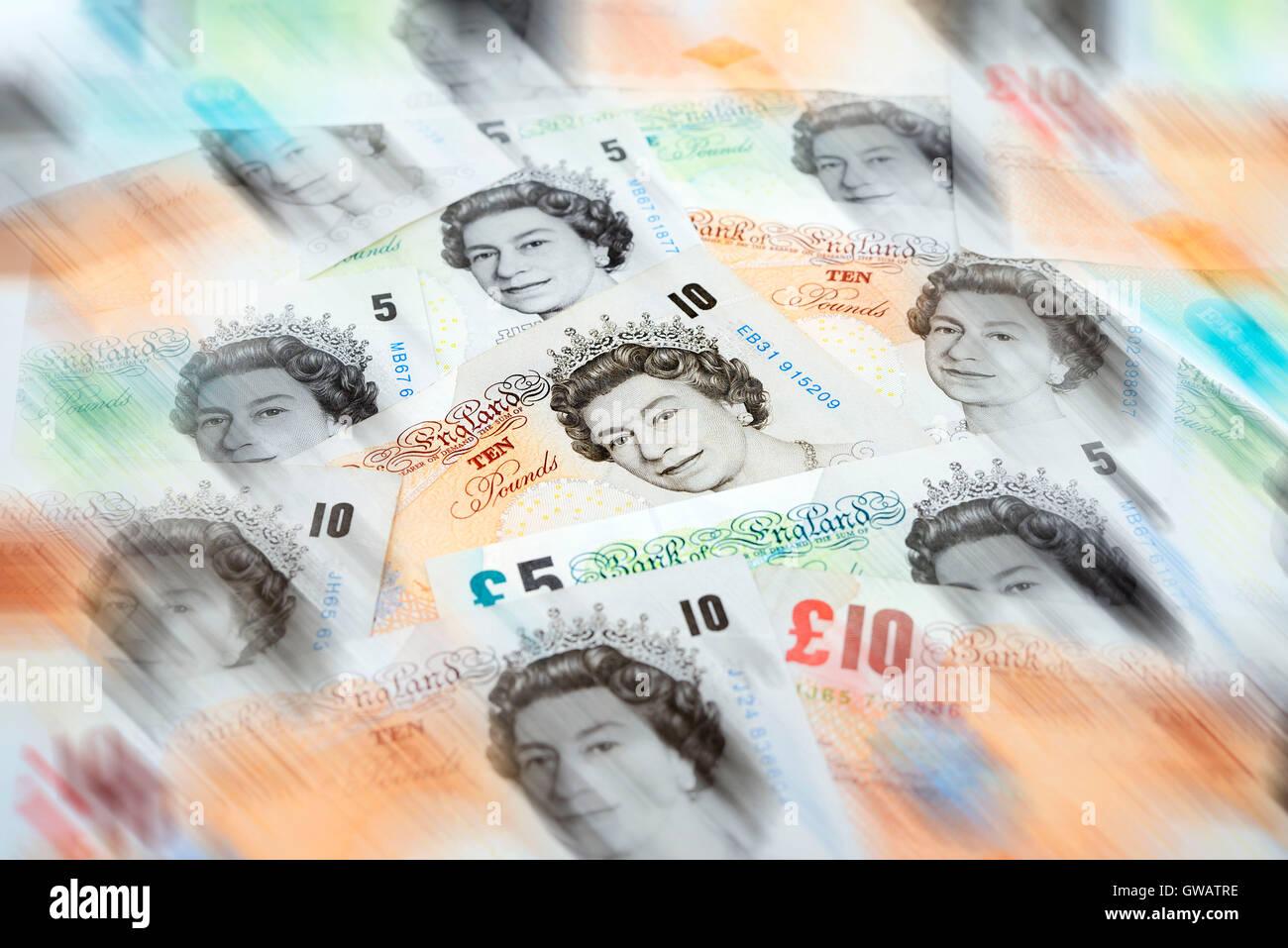 British pound marks, Britische Pfundnoten - Stock Image
