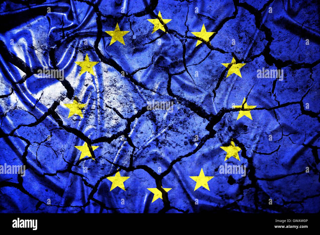 European flag with tears, symbolic photo Europe after the Brexit vote, Europa-Fahne mit Rissen, Symbolfoto Europa - Stock Image