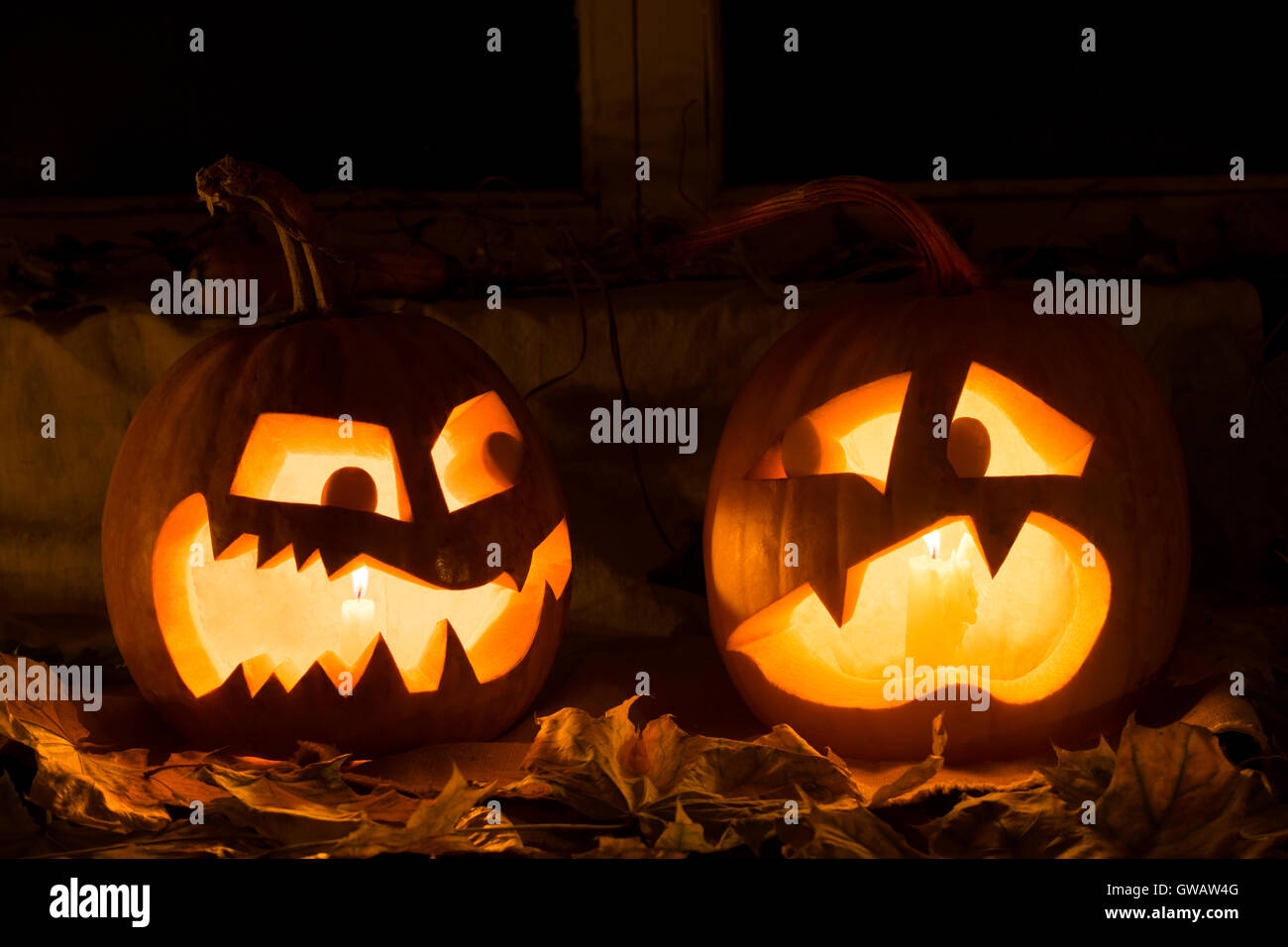 Photo composition from two pumpkins on Halloween. Embittered and frightened pumpkins stand against an old window, - Stock Image
