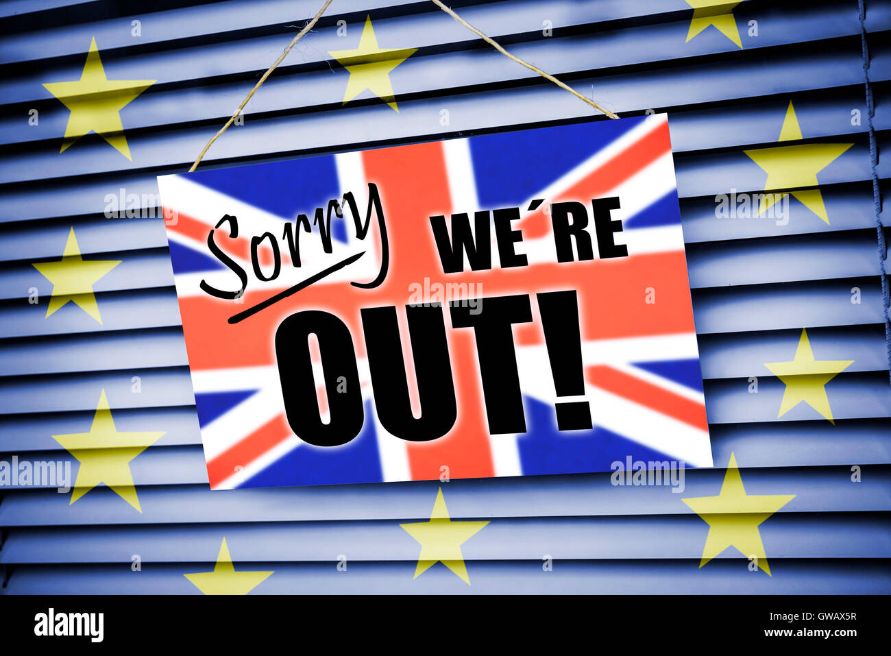 'Sign ''Sorry we ?, ?'re out'' with flag of Great Britain, symbolic photo Brexit', Schild - Stock Image