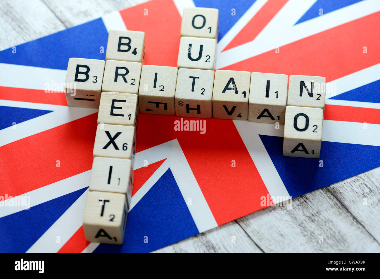 Letter cubes form the concepts Britain, Brexit, Out and No on flag of Great Britain, symbolic photo Brexit, Buchstabenwuerfel - Stock Image
