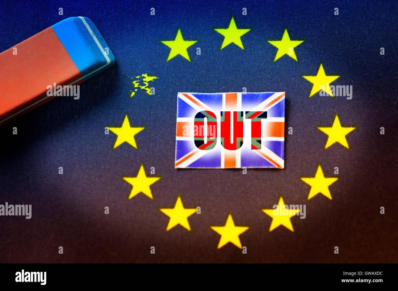 From EU flag star is erased out, symbolic photo Brexit, Aus EU-Fahne wird Stern ausradiert, Symbolfoto Brexit Stock Photo