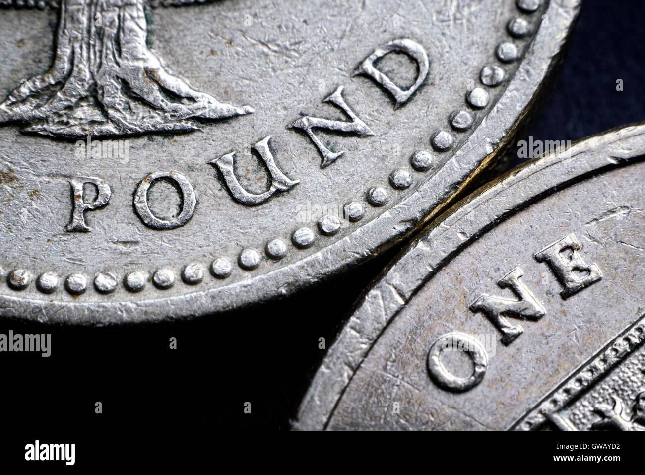 British one-pound coins, Britische Ein-Pfund-Muenzen Stock Photo
