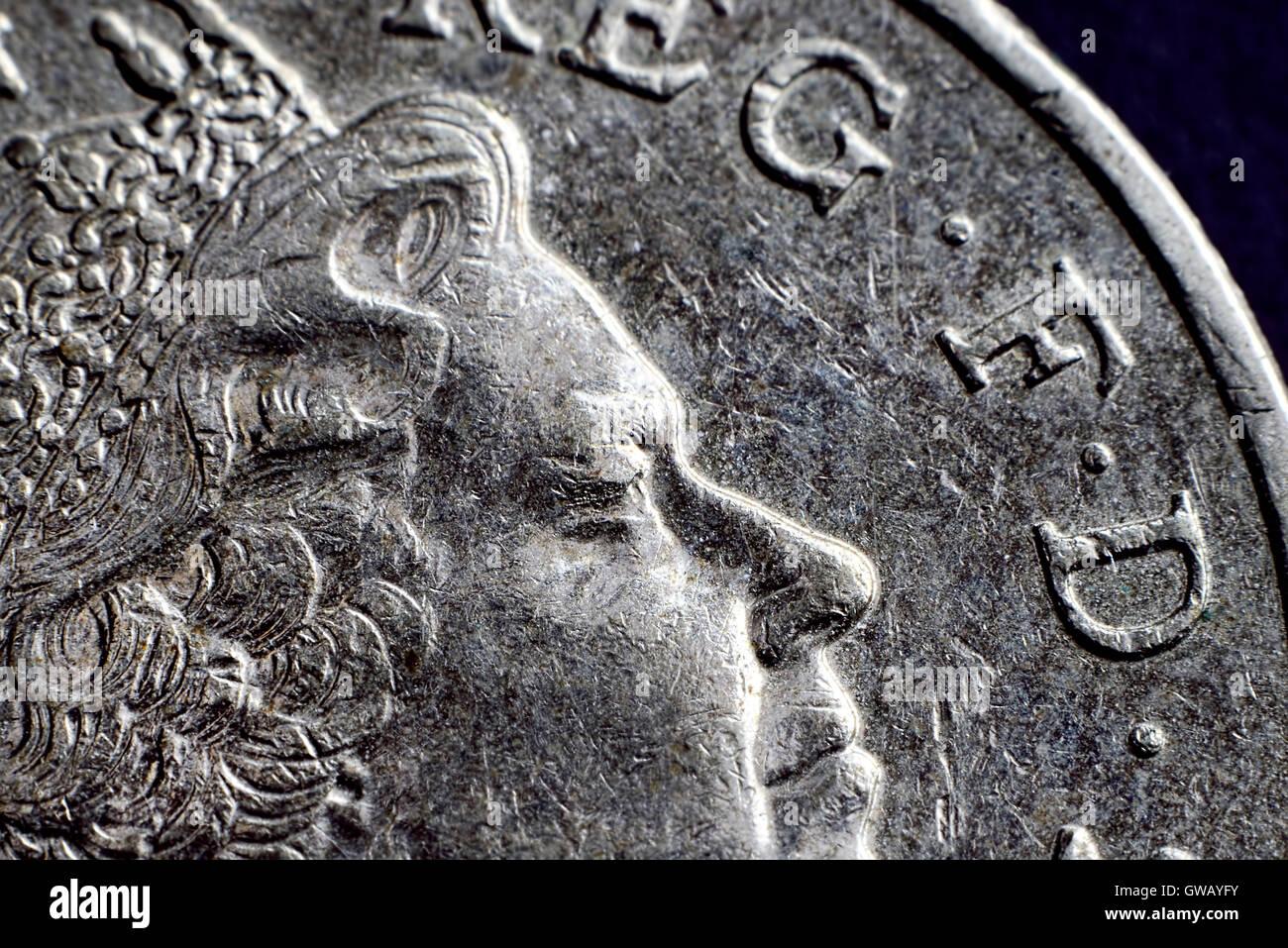 British one-pound coin, Britische Ein-Pfund-Muenze - Stock Image