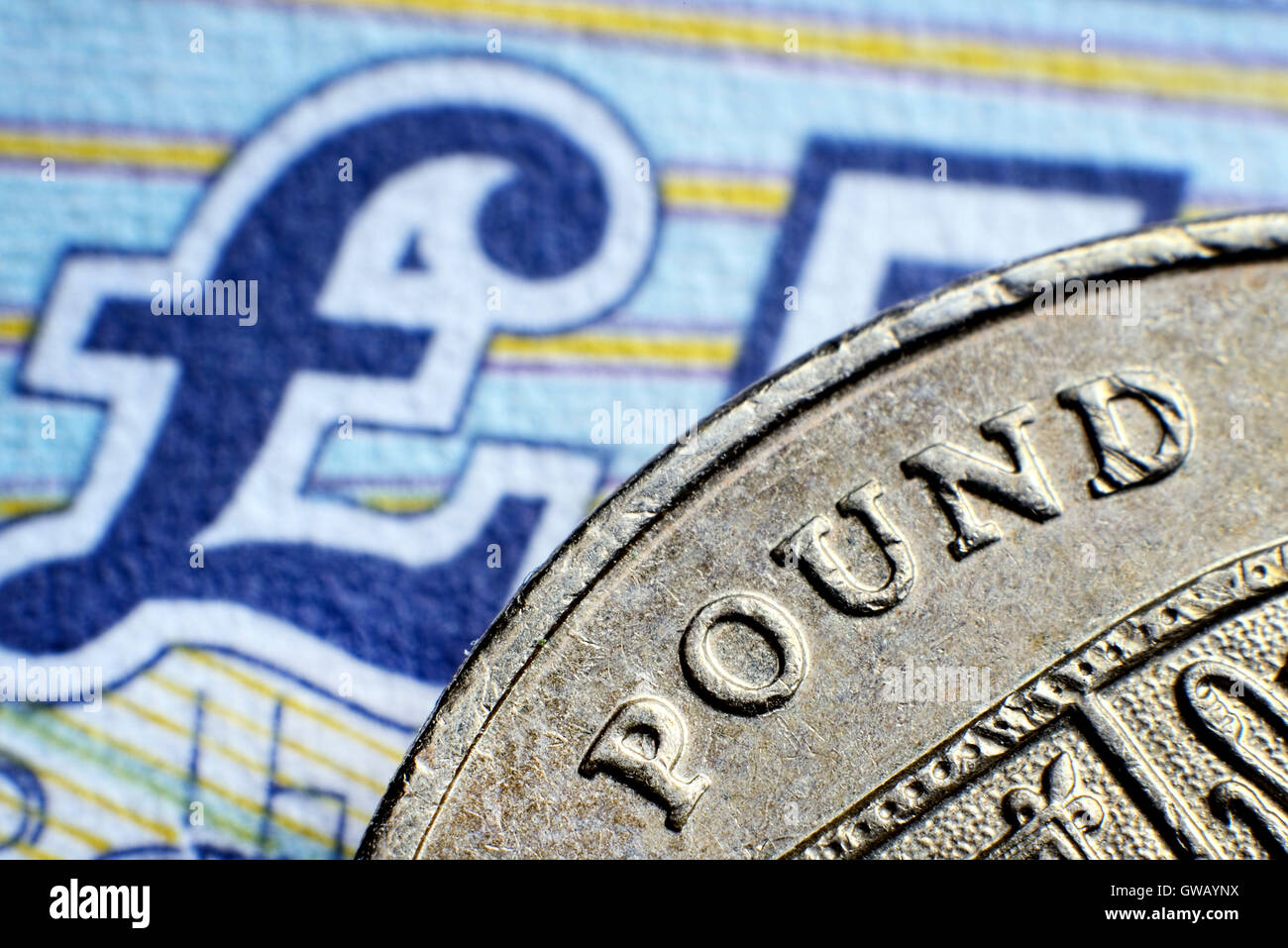 British one-pound coin and pound mark, Britische Ein-Pfund-Muenze und Pfundnote - Stock Image