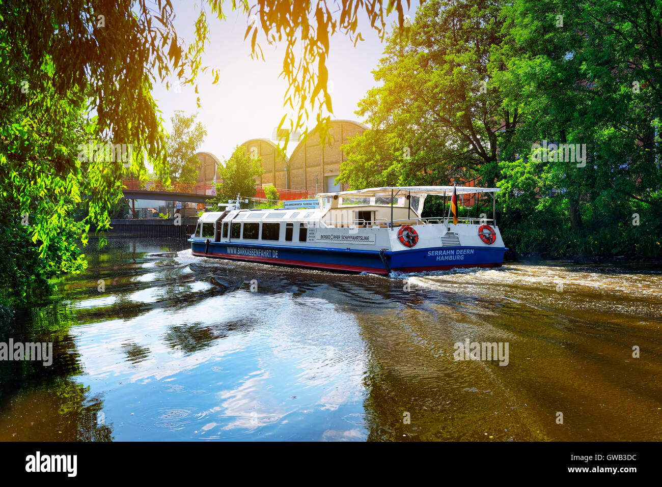 Sluice ditch and passenger ship Serrahn Deern in mountain village, Hamburg, Germany, Europe, Schleusengraben und - Stock Image