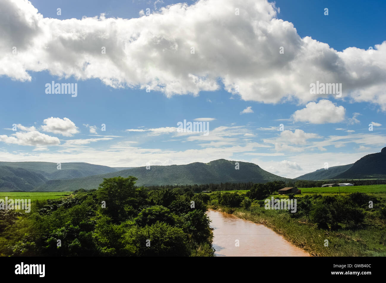 Close to the South Africa–Swaziland border crossing at Lavumisa. The Kingdom of Swaziland in Southern Africa, bordered Stock Photo