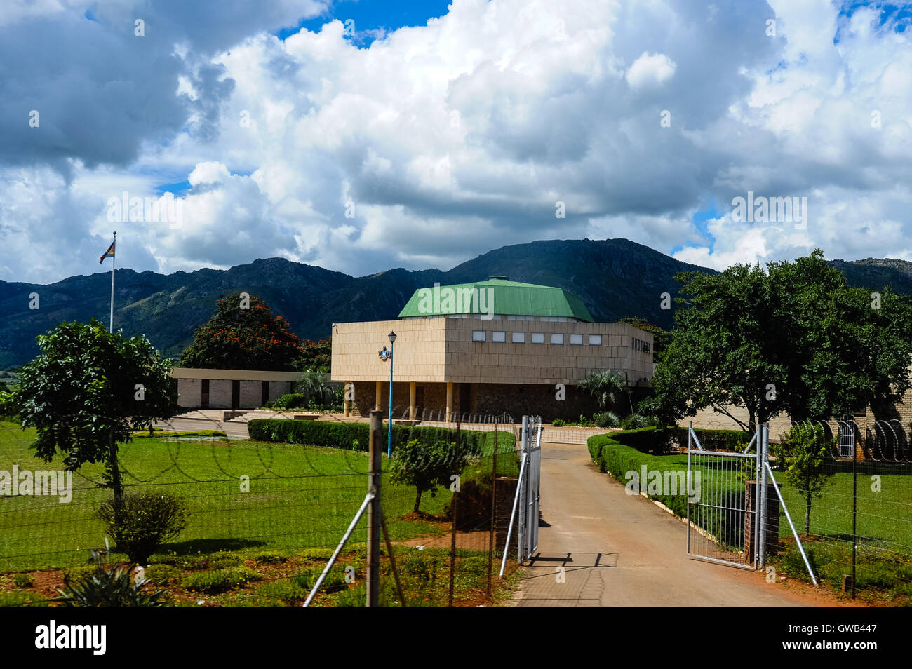 The Parliament in Mbabane, the capital and largest city of Swaziland. The Kingdom of Swaziland in Southern Africa, Stock Photo