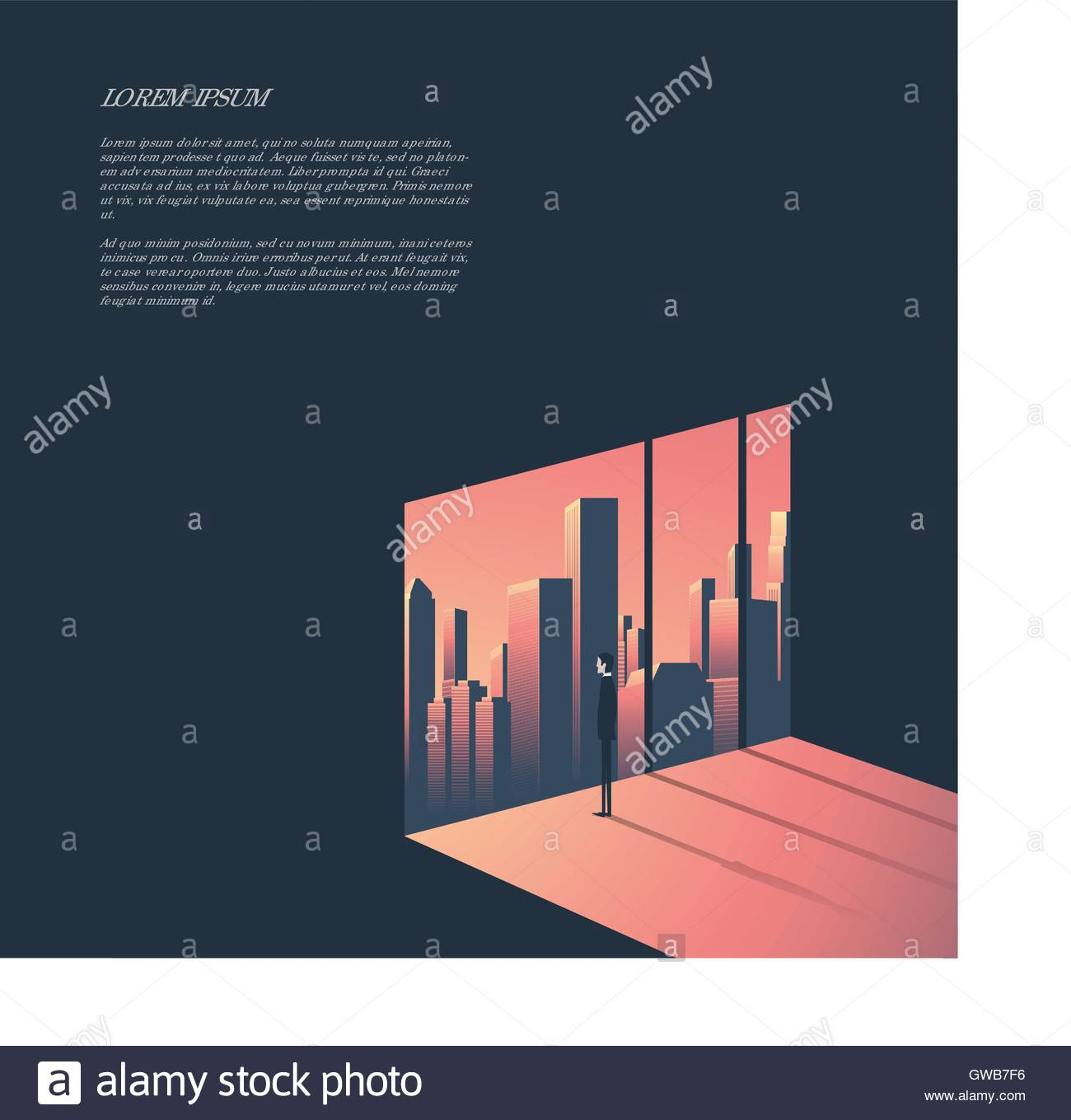 Businessman looking through window at urban skyline. Business and corporate world concept vector illustration with - Stock Vector