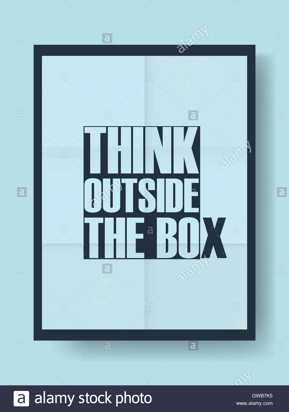 think outside the box motivational poster with creative typography quote