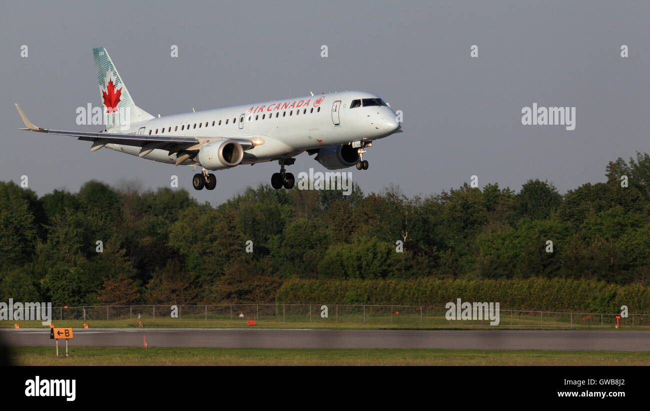 Embraer 190 C-FHNY Air Canada landing at YOW Ottawa Canada, June 04, 2015 Stock Photo