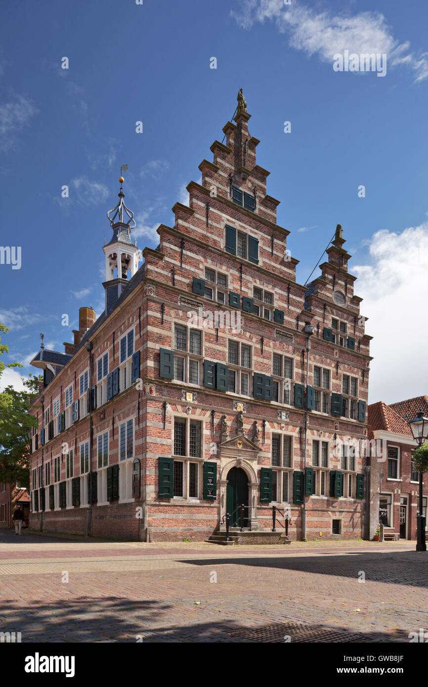 Naarden City Hall with traditional crow stepped gable - Stock Image