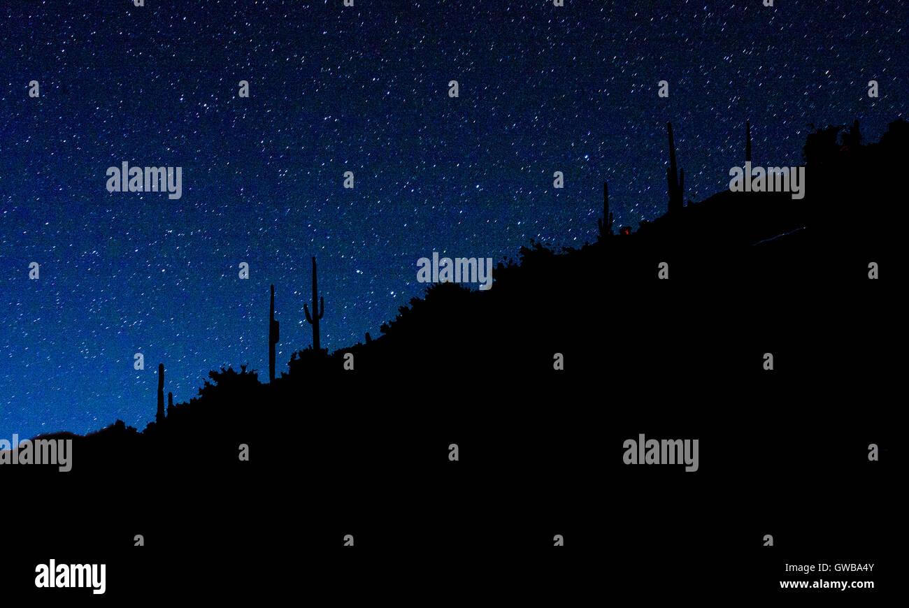 Stars against azure night sky near Carefree, Arizona, USA - Stock Image