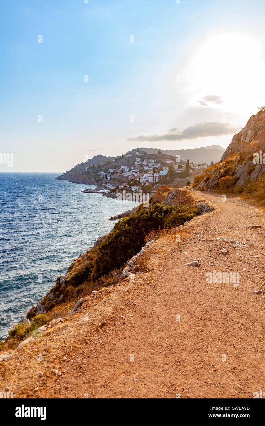 Path by the sea in Hydra greek island - Stock Image