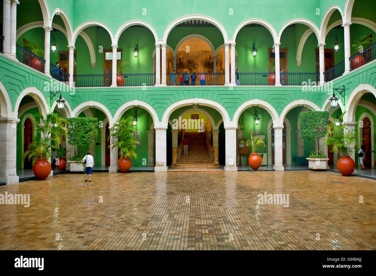 Governor's Palace courtyard in Merida, Yucatan, Mexico - Stock Image
