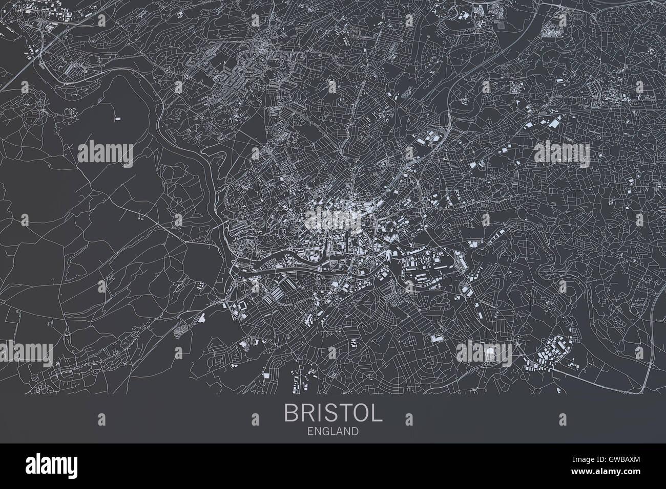 Bristol map satellite view city England 3d