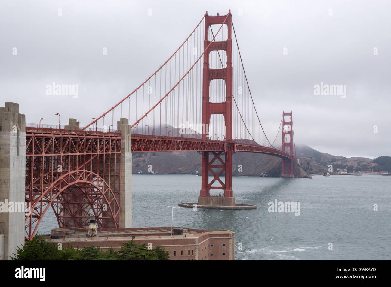 Golden Gate Bridge from the Welcome Center, San Francisco, California, USA - Stock Image