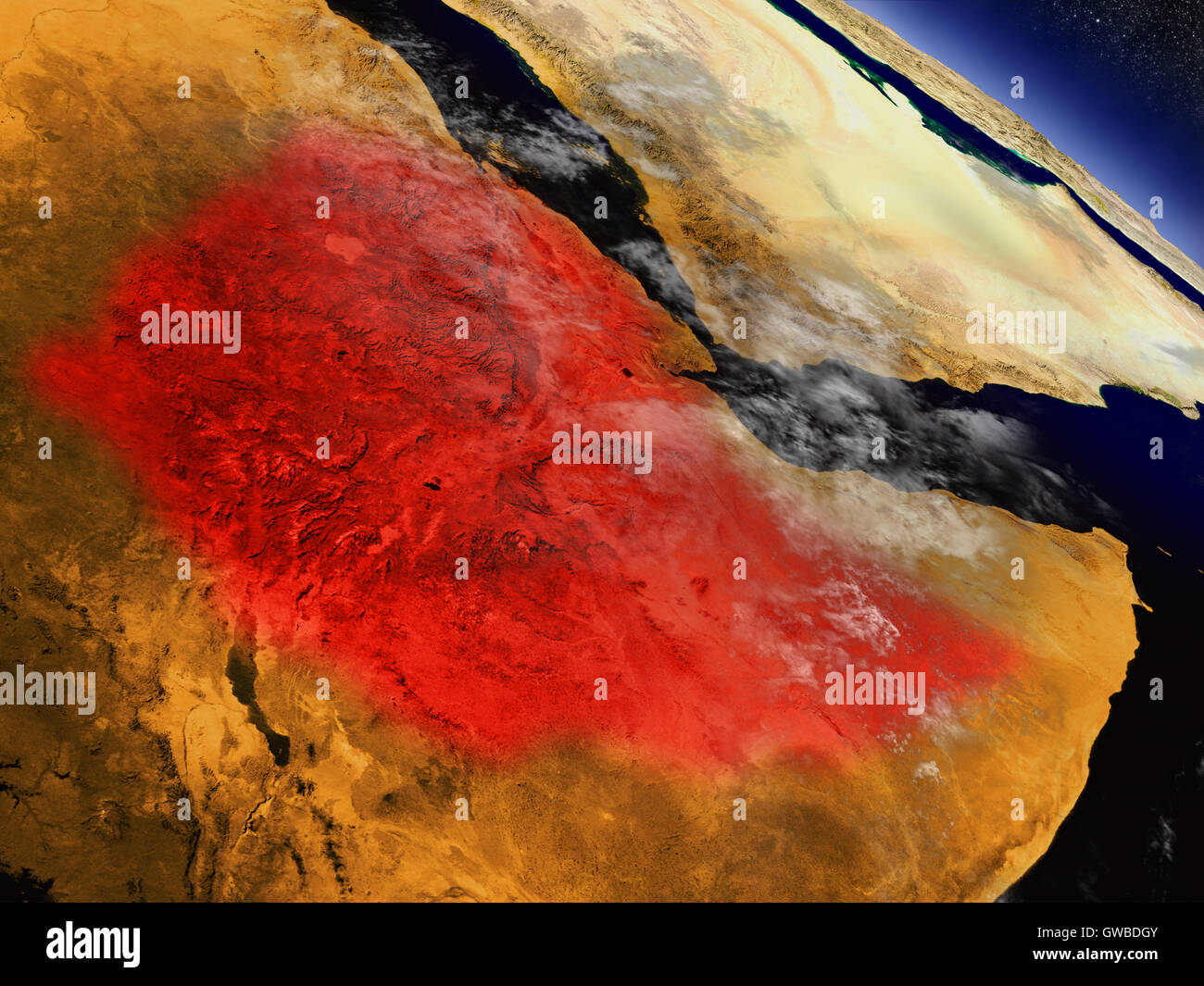 Ethiopia highlighted in red as seen from Earth's orbit in space. 3D illustration with highly detailed planet surface. Stock Photo