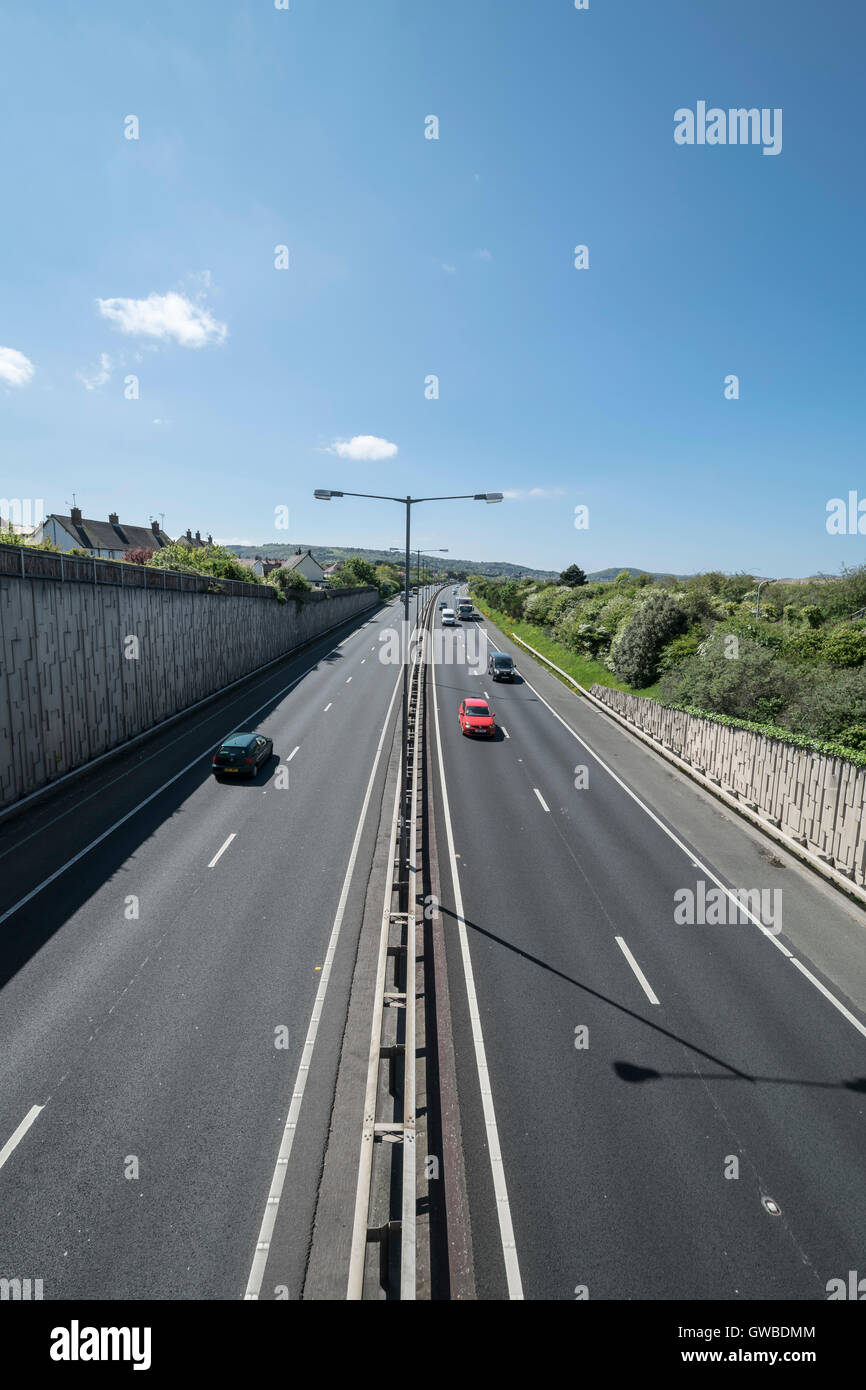 The A55 coast road at Old Colwyn near Colwyn Bay North Wales near to the Rainbow bridge Westbound - Stock Image