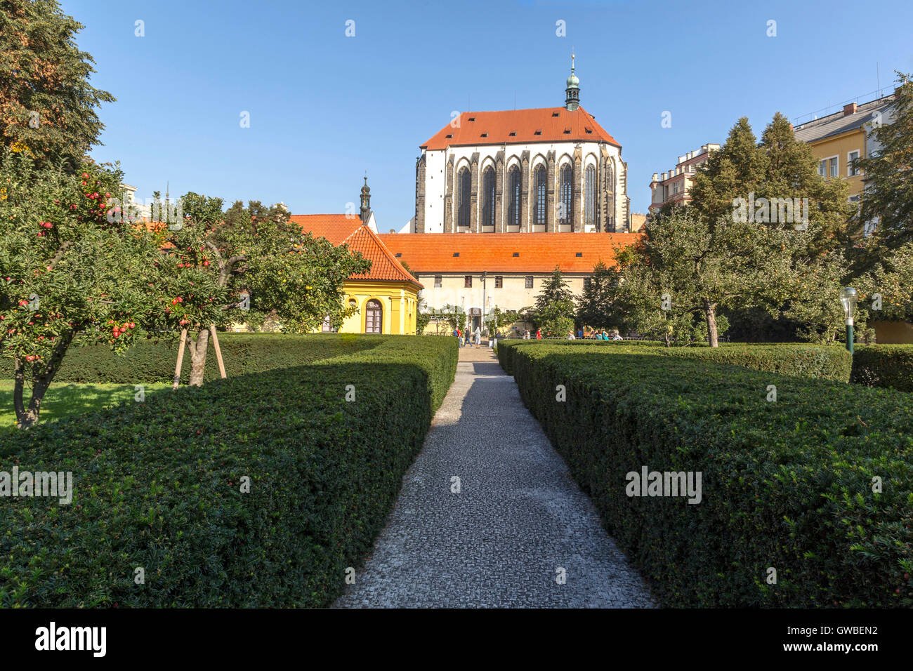 View from the Franciscan Garden on the Church of Virgin Mary of the Snows in the New Town, Nové Město, Prague - Stock Image
