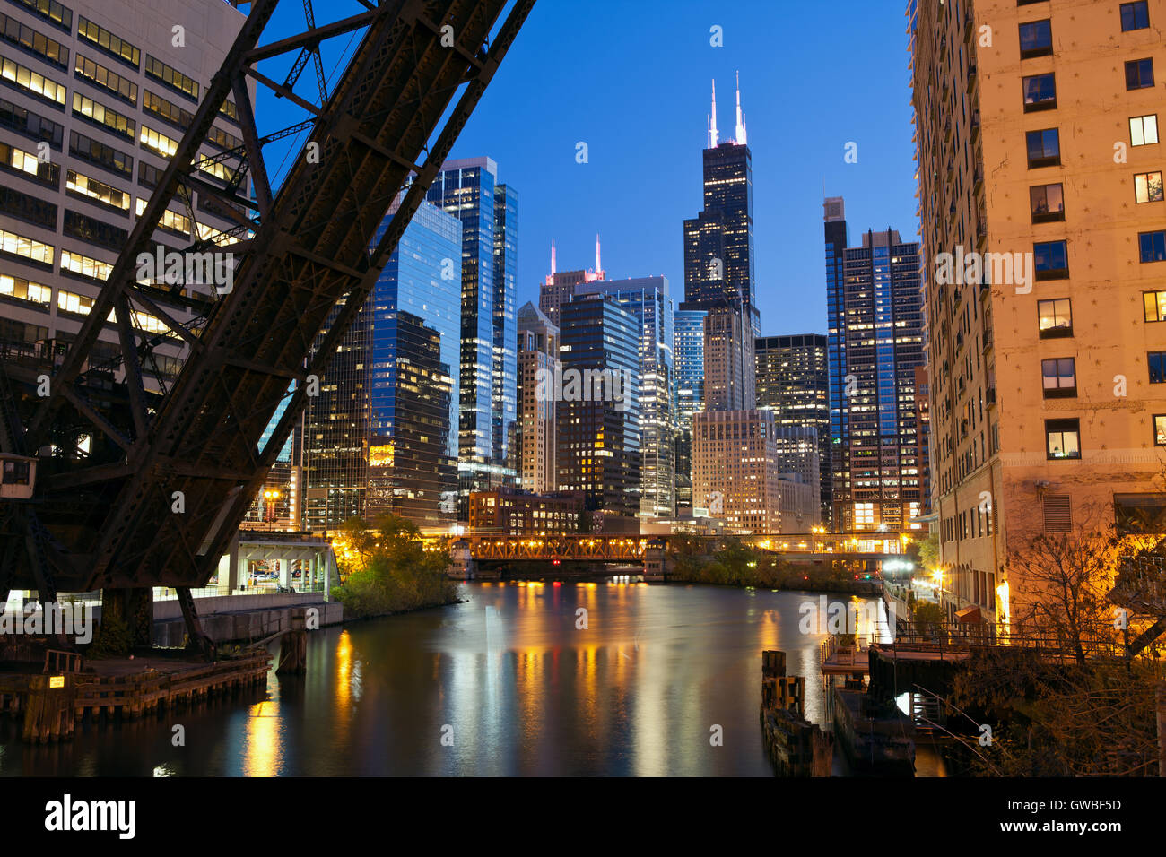 Chicago downtown riverside. Image of Chicago downtown area at twilight. - Stock Image