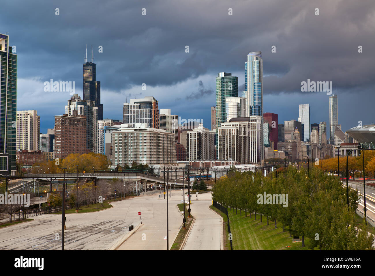 City of Chicago. Image of Chicago downtown with dramatic sky. - Stock Image