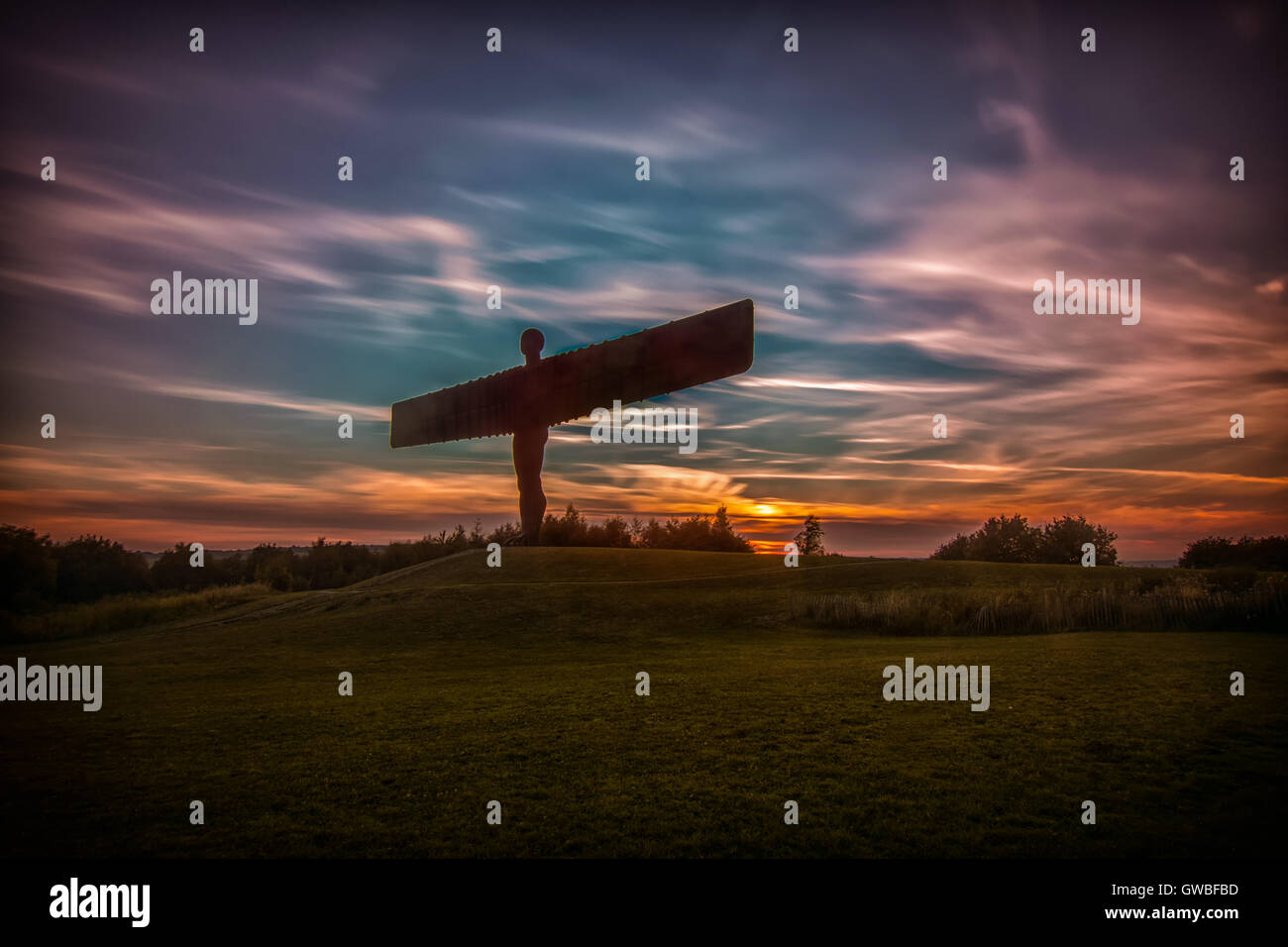 Sunset at the Angel of the North - Stock Image