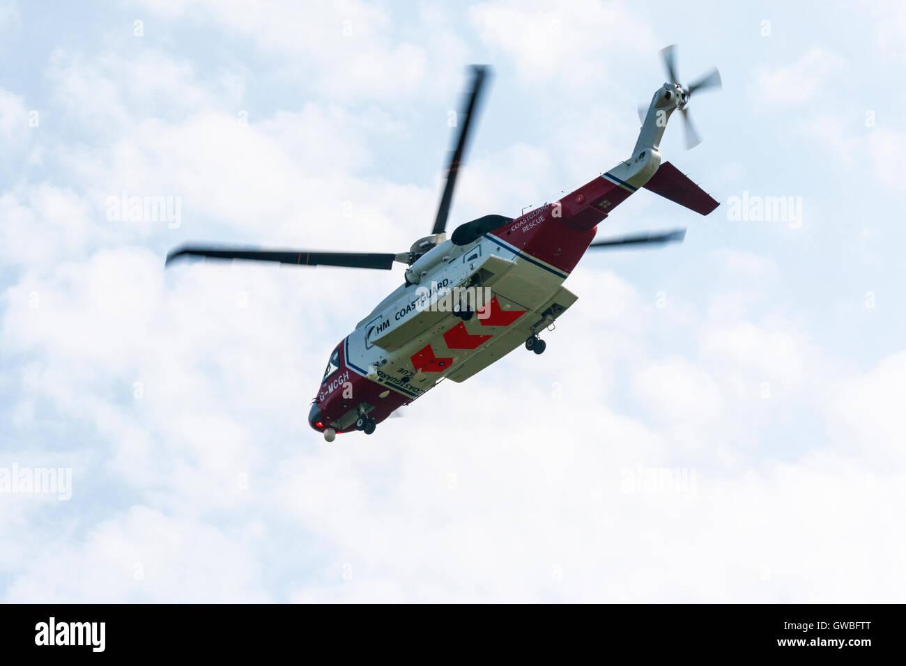 Sikorsky S92A G-MCGH UK Coastguard in flight at North Coates Airfield Stock Photo