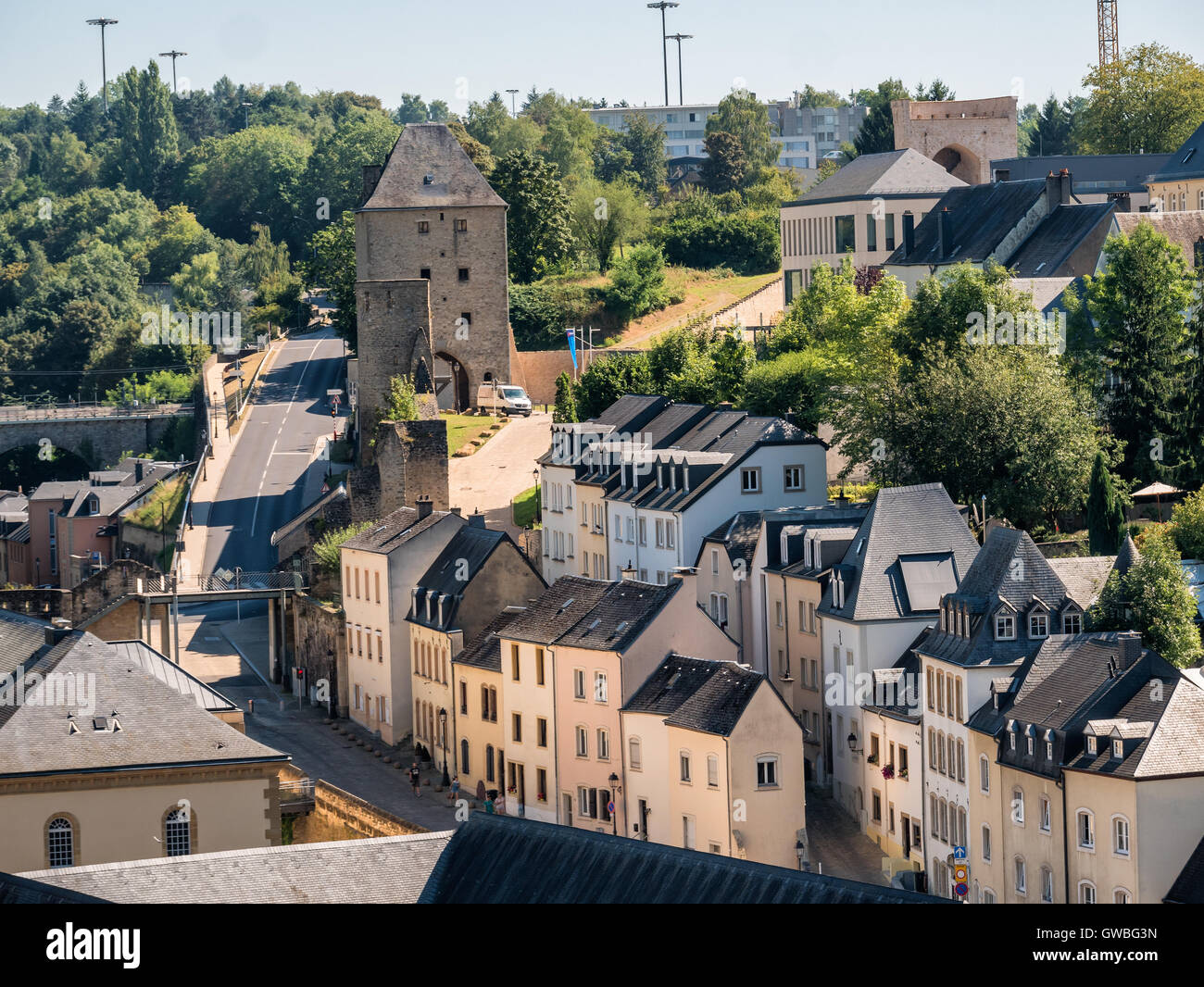 Luxembourg old medieval city with surrounding walls - Stock Image