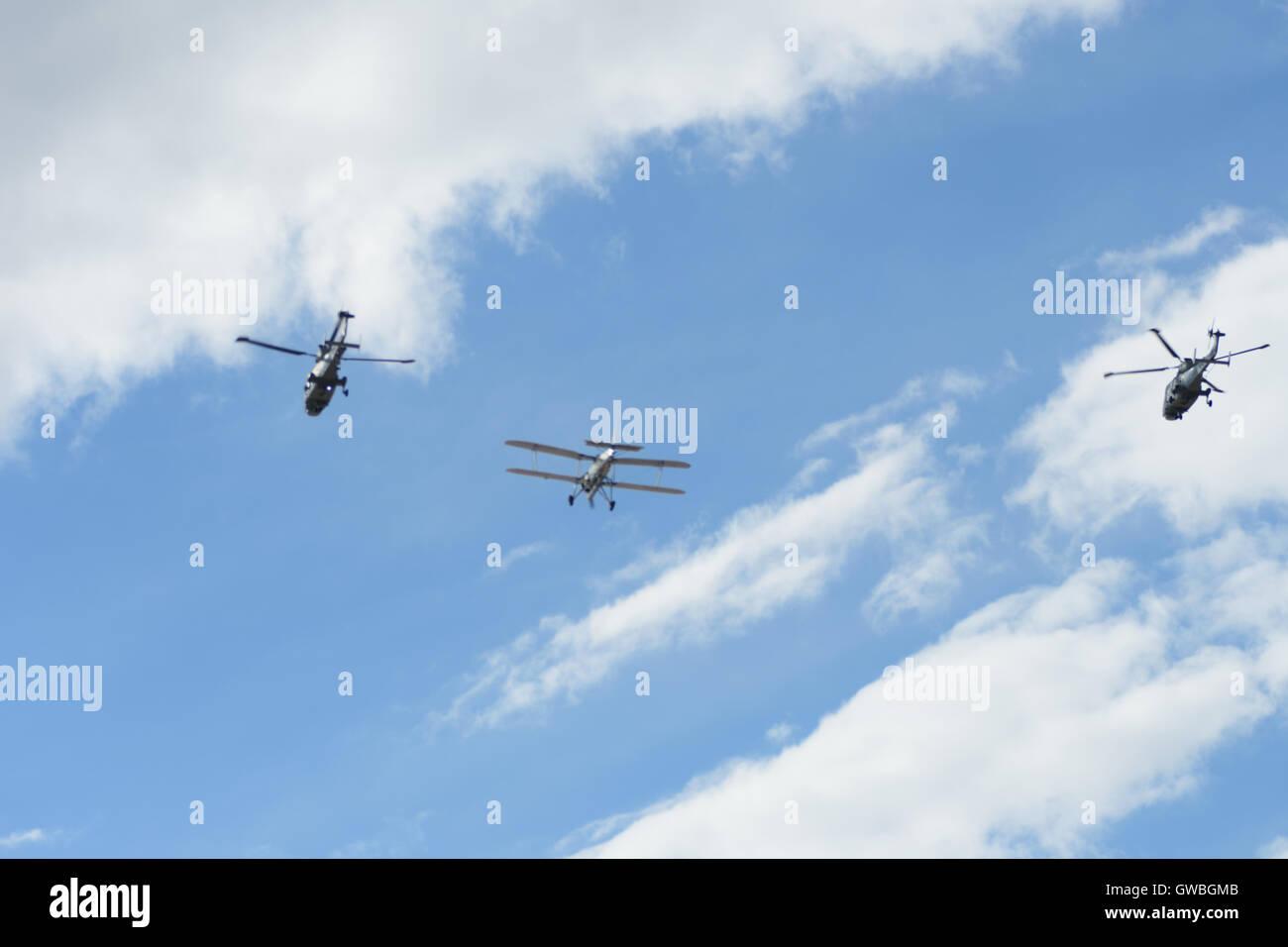 southport airshow fairy swordfish bi-plane plane aircraft - Stock Image