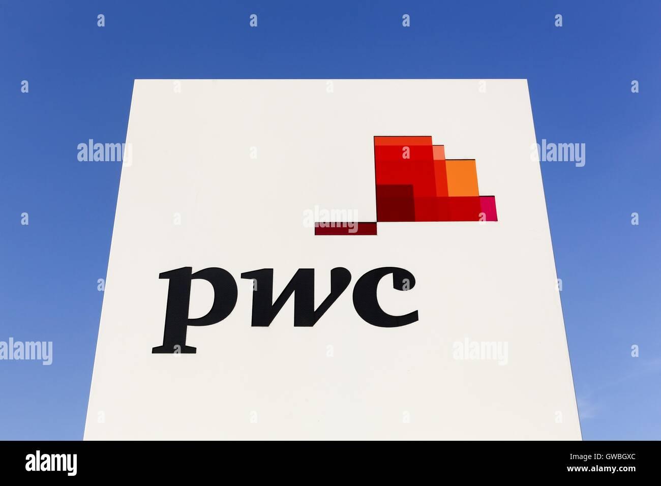 PWC logo on a wall - Stock Image