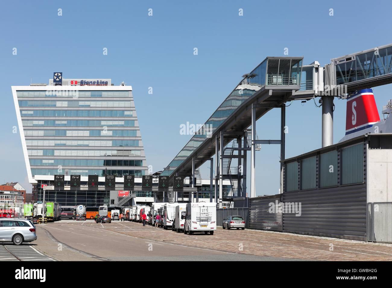 Stena line terminal on the harbor of Kiel, Germany - Stock Image